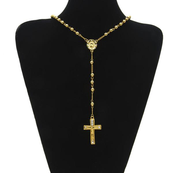 Catholic Jesus Cross Pendant Rosary Necklace Cz Diamonds Ice Out Crucifix Charm Pendant Gold Plated Trendy Long Bead Chain