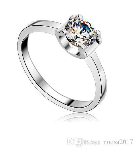 Art und Weiseschmucksachen 925 Sterlingsilber überzog den Simulationsdiamant-Ehering 4 der Größe 4 tschechische Zircon-Ringe