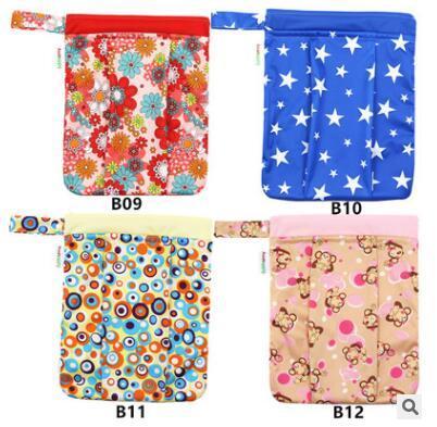 Baby Diaper Bags Cartoon Animal Owl Printed Double Zippered Wet/Dry Bag Waterproof Wet Cloth Diaper Backpack Reusable Diaper Cover WetBag
