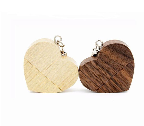 90pc DHL ship customize natrual Wooden Pendrive 4GB 8GB 16GB 32GB Heart USB Flash Drive U disk Memory Stick USB for photography Wedding Gift