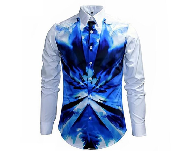 2017 New arrived Designer Brand Shirt for Men,Mens white & blue print Slim Fit club full sleeve Shirt for Men big Size clothes