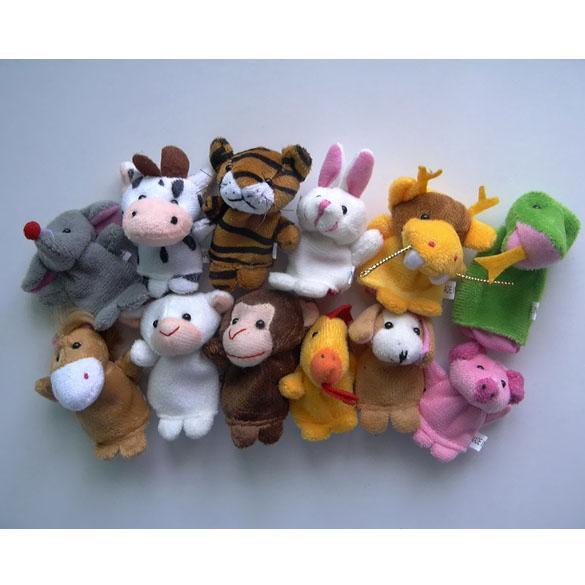 Zodiaco all'ingrosso-cinese 12pcs / lot animali del fumetto Biological Finger Puppet Plush Toys Dolls Bambino Baby Favor Finger Doll Spedizione gratuita