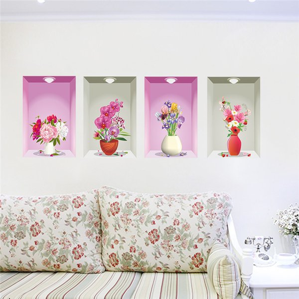 Wonderful Flower Vase Floral Wall Stickers Bedroom Living Room Decoration 3D Wall  Decals Home Decor Poster Picture