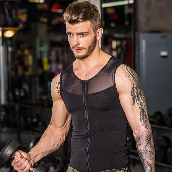 Men Slim Body Shaper Waist Abdomen Underwear Vest Slimming Belly Corset Shirt Tops Front Zipper Design Free Shipping