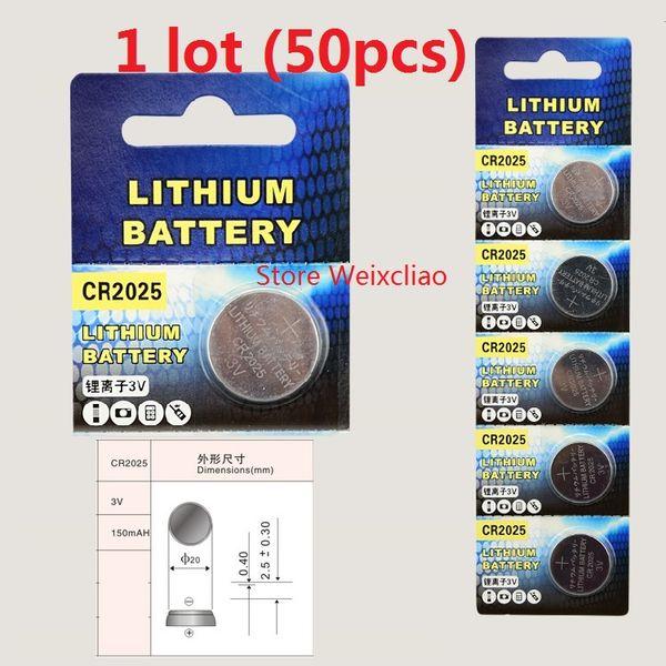 50pcs 1 lot CR2025 3V lithium li ion button cell battery CR 2025 3 Volt li-ion coin batteries Free Shipping