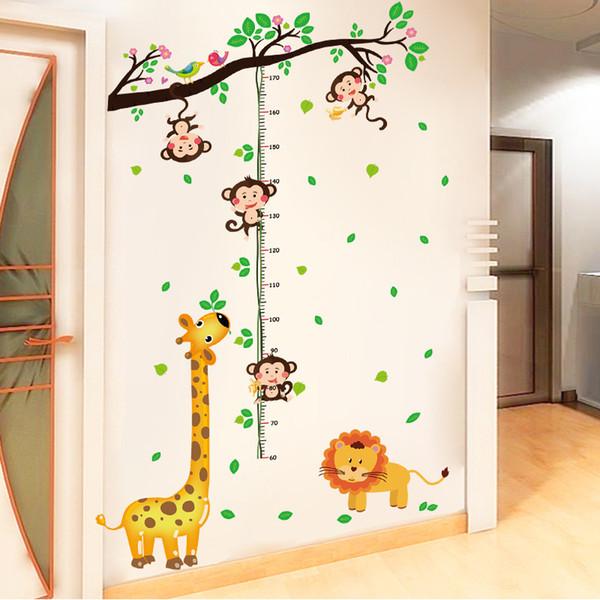 Maymun tırmanma yüksekliği yükseklik sopa çocuk odası duvar kağıdı karikatür duvar çıkartmaları zürafa anaokulu duvar çıkartmaları