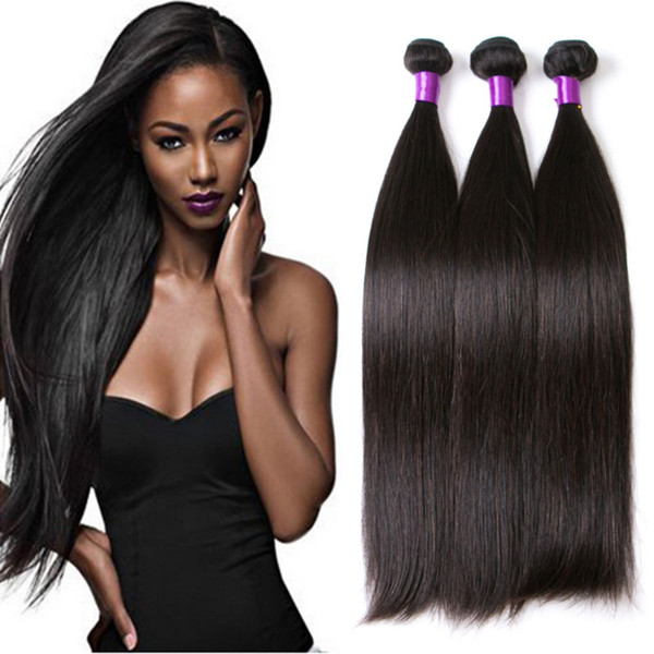 8A Mink Brazilian Straight Human Virgin Hair Weaves 100g/pc 3pcs/lot Double Wefts Natural Black Color Human Remy Hair Extensions