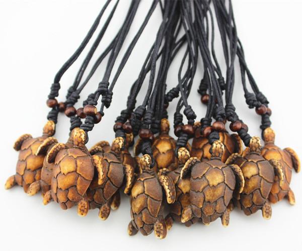 Jewelry Wholesale 12PCS Simulation Yak Bone Carved Sea Turtles Pendant Boy Men's Surfing Necklace Amulet Gift MN448