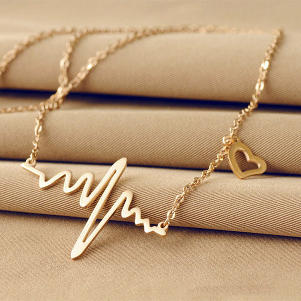 best selling Fashion simple notes ECG heart frequency collarbone necklace heart feel pendants sweater necklace women wholesale free shipping