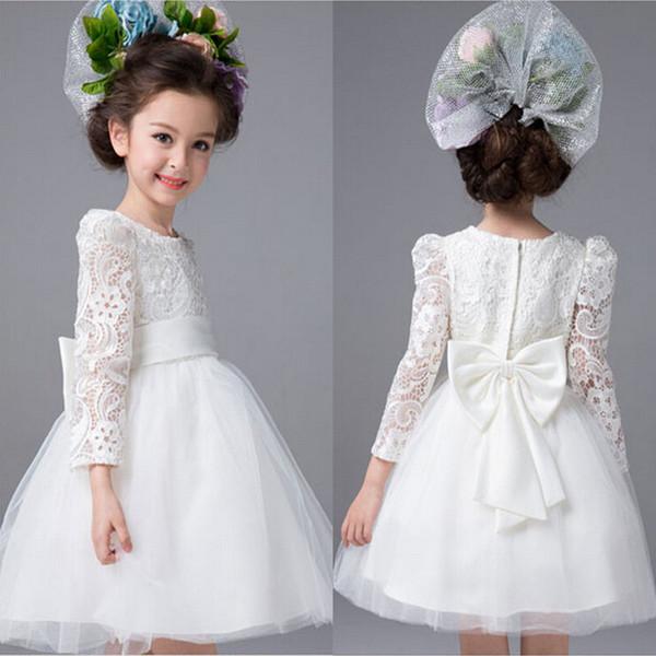 Yay ile 2017 Yeni Çiçek Kız Elbise Uzun Kollu Düğün Parti Communion Pageant Elbise Küçük Kızlar Çocuklar için / Çocuk Elbise