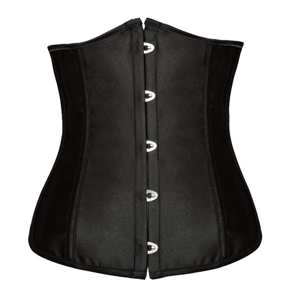 top popular Free shipping!! Goth Satin Black Corsets Sexy Lingerie Women Steel Waist Training Underbust Bustiers Plus Size Corselets Top 8192 2019