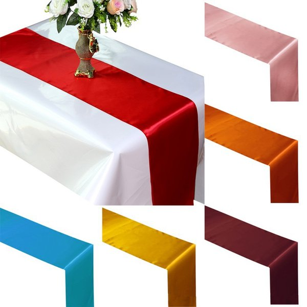 top popular Free Shipping Table Runner Satin Table Runners for Wedding Satin Ribbon Cloth Table Runner Flag of Wedding Banquet Decors JF-775 2019