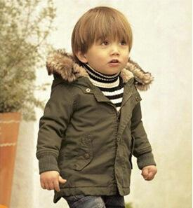Hot Baby Boys Winter Jacket Coat Army Green Thick Overcoat Removable Fur Hooded Coats Kids Boys Clothing Keep Warm Baby Children Outwear