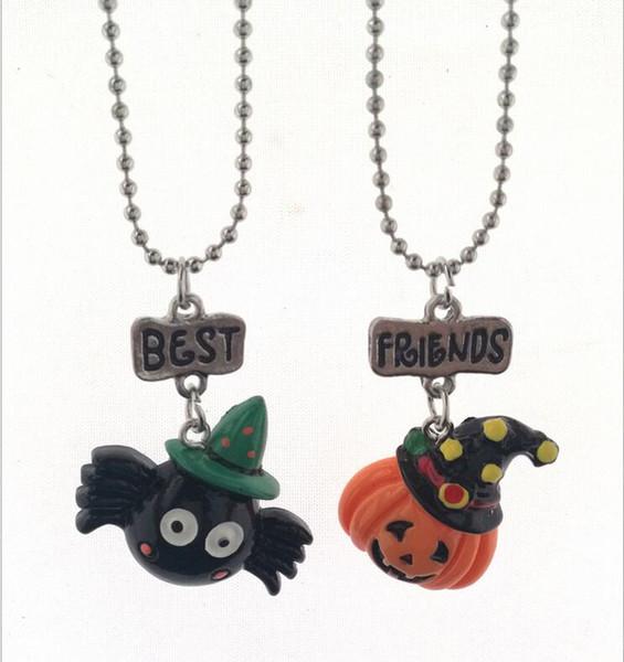 2 pcs/set Halloween Child Stereo Resin Spider Pumpkin Good Friends BFF Necklace Pendant Charm
