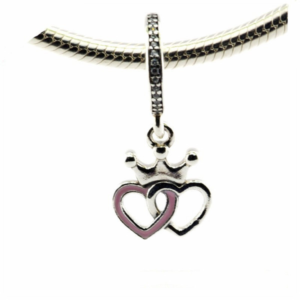 Interlocked Heart Charms Pendants 925 Sterling Silver Pink Enamel Princess Crown Beads For Jewelry Making DIY Charm Bracelets Accessories