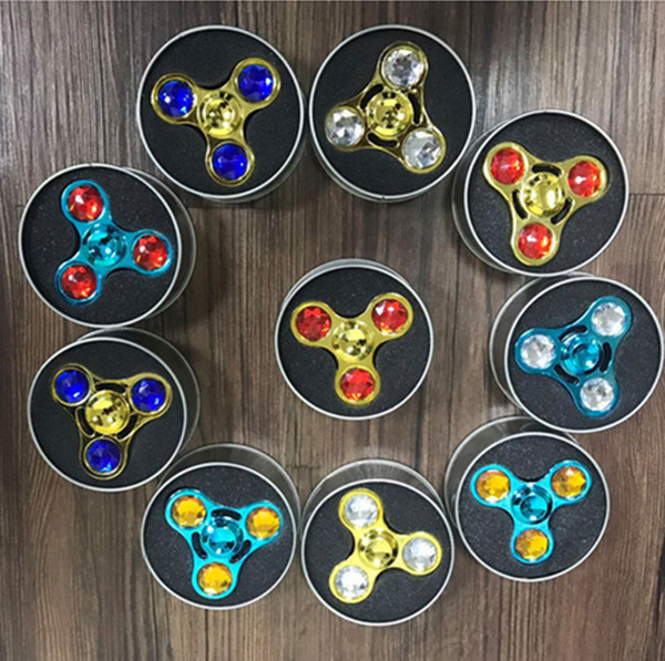 Metal Crystal Diamond Triangle Hand Fidget Spinner jewelly Finger handspinner Rainbow Colorful Decompression Anxiety Gyro Aluminium Toys hot