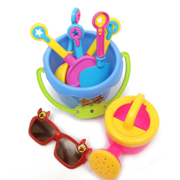 Wholesale- Beach Sand Play Water Outdoor Fun Toy 9pcs/Set Kids Seaside Excavating Tools Enclosed Spade Shovel Sunglasses Hourglass Paddle