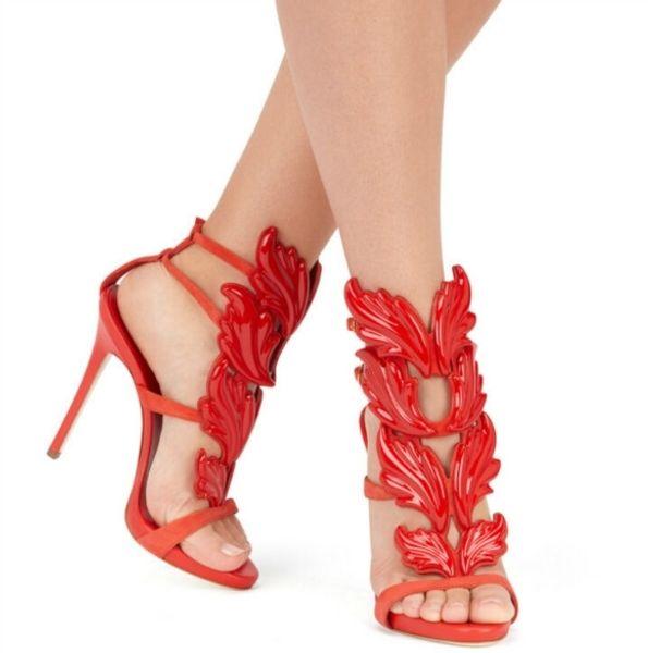 Gladiatoren Frau Flügel Blatt Sandalen Sommer Schuhe aus echtem Leder Hochzeit Schuhe Stiletto Schnalle High Heels Pumps Marke 12cm