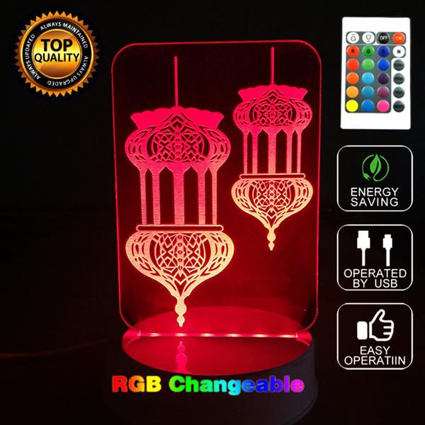Acheter Calligraphie Islamique Lanterne Acrylique Bureau Lampes Citations Arabes Dieu Bénissent Lumière 3d Nuit Lumière Avec Télécommande Pour étude