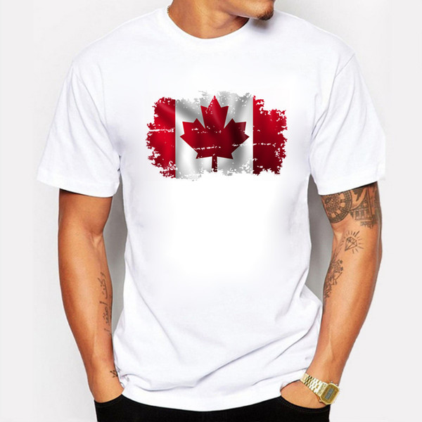 Newest Men's Fashion Short Sleeve Nostalgic Style Canada Flag Print T-shirts Canada City Montreal Tee Shirts Hipster O-neck Tops