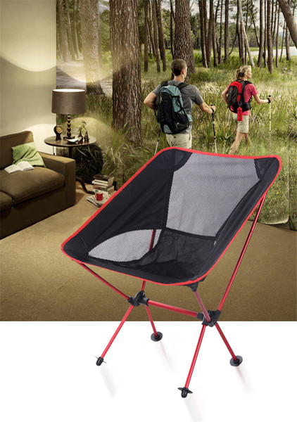 New Folding Chair Portable Light weight Fishing Chair Seat Stool Camping Hiking Gardening Pouch 5 colors Max bearing 220.5lb