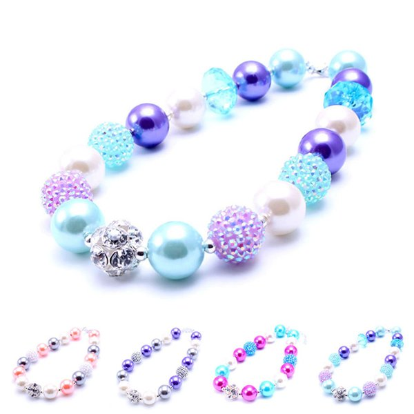 MHS.SUN Newest Design Rhinestone Ball Necklace Birthday Party Gift For Toddlers Girls Beaded Bubblegum Baby Kids Chunky Necklace Jewelry