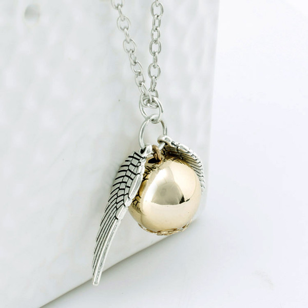 Necklace snitch silver bronze angel wing pendant necklace women men Jewelry Vintage Quidditch necklace free shipping