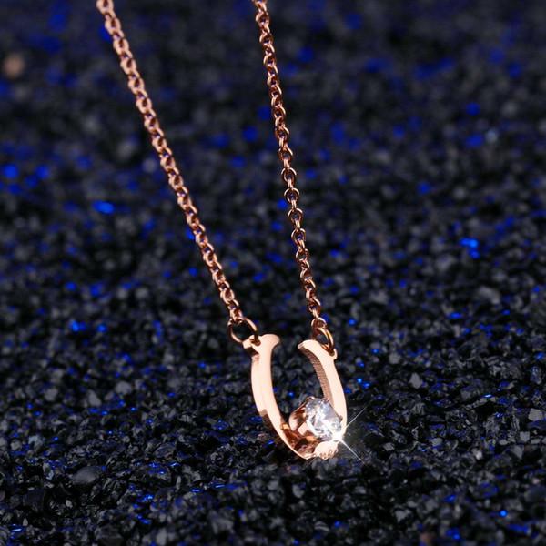 Collier en diamant de type LOBE de type U avec livraison gratuite et personnalisé dame de la mode en or rose Pendentif N1155 en acier inoxydable