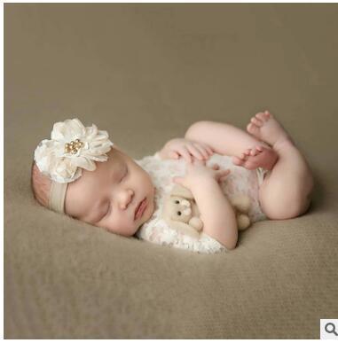Yenidoğan dantel ilmek elbise inci elmas bantlar Bebek dolunay 100 gün fotoğrafçılık kostümleri sahne dört stilleri