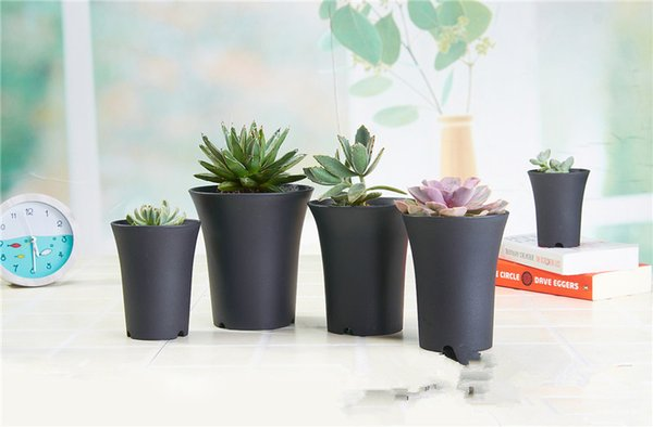 Black White plastic mini flower pot home office desk Indoor Potted Garden Decor Planter Root Container