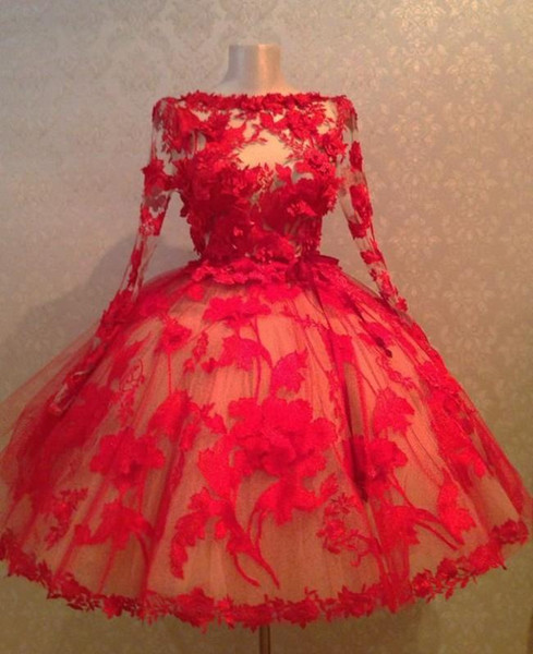 Vintage 1950's Red Applique Lace Short Prom Dresses With Sheer Long Sleeves Ball Gown Mini Evening Party Gown