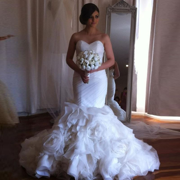 2016 Luxurious Pleats Mermaid Wedding Dresses Gorgeous Rosette - Rosette Wedding Dress