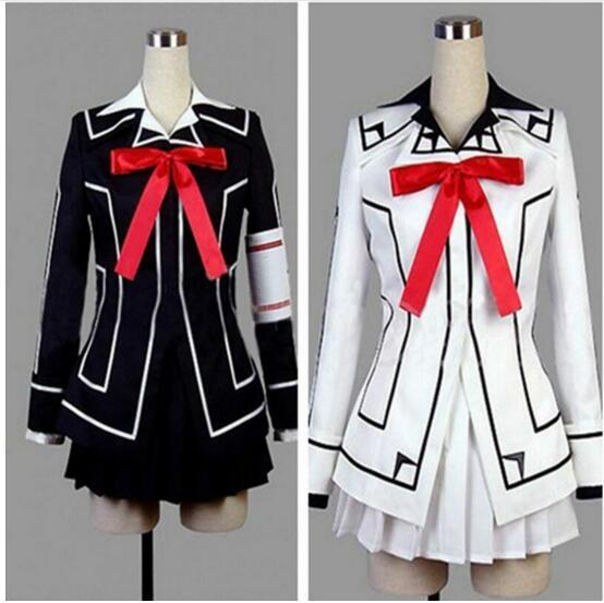 Japan Anime Vampire Knight Cosplay Costume Yuki Cross White or Black Womens Dress Uniform Coat+Shirt+Skirt+Tie+Armband