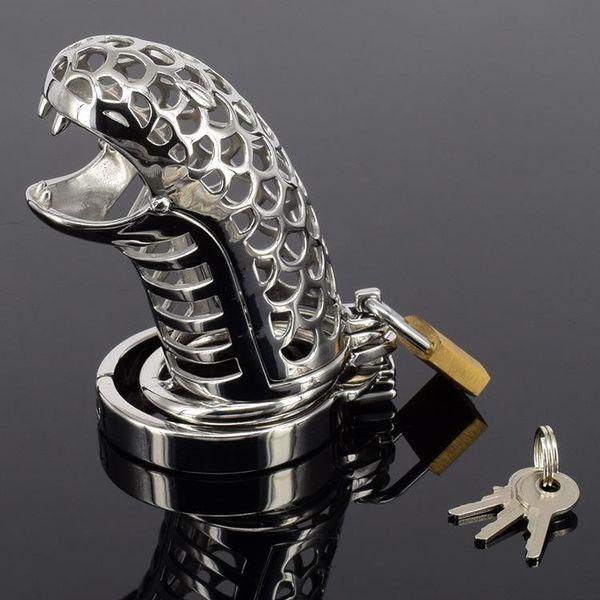 Змея рот из нержавеющей стали целомудрие клетка секс-игрушки для мужчин,Кольцо Петуха Замок Пениса Кейдж Мужской Целомудрие Устройства Продукты Секса #Q161