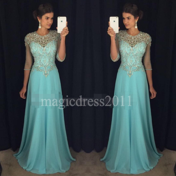 Chic Blue Prom Evening Dresses 2019 A-Line Sheer Neck Rhinestones Major Beaded 3/4Long Sleeves Chiffon Formal Party Gowns Celebrity Dress