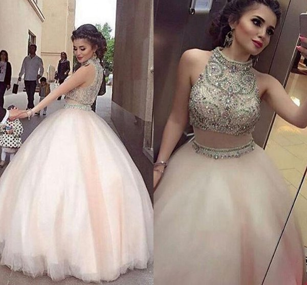 Light Pink Ball Gown Quinceanera Dresses High Neck Crystal Beaded Tulle Floor Length Two Piece Prom Dresses Arabic Dubai Formal Evening Gown