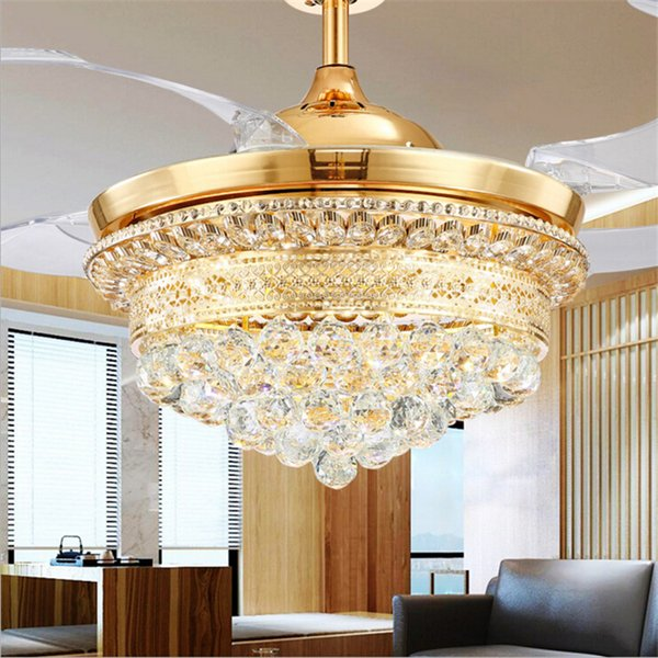 top popular Modern Invisible Blades Ceiling Fans Crystal Retractable Belt Pendant Lamp With LED Lights Folding Ceiling Fan Dining Room Chandelier 2021
