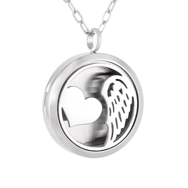 IJP0149 Wings Heart 316L Stainless Steel Essential Oils Aromatherapy Diffuser Necklace Perfume Locket Jewelry 50pcs/lot