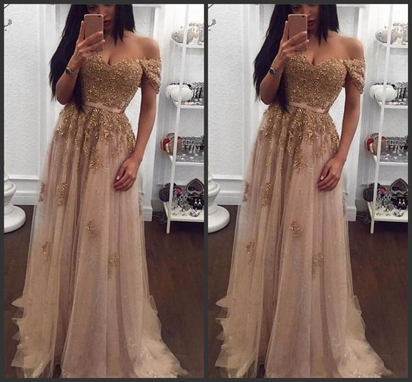 2018 New Champagne Lace Beaded Arabic Evening Dresses Sweetheart A-line Tulle Prom Dresses Vintage Cheap Formal Party Gowns 155