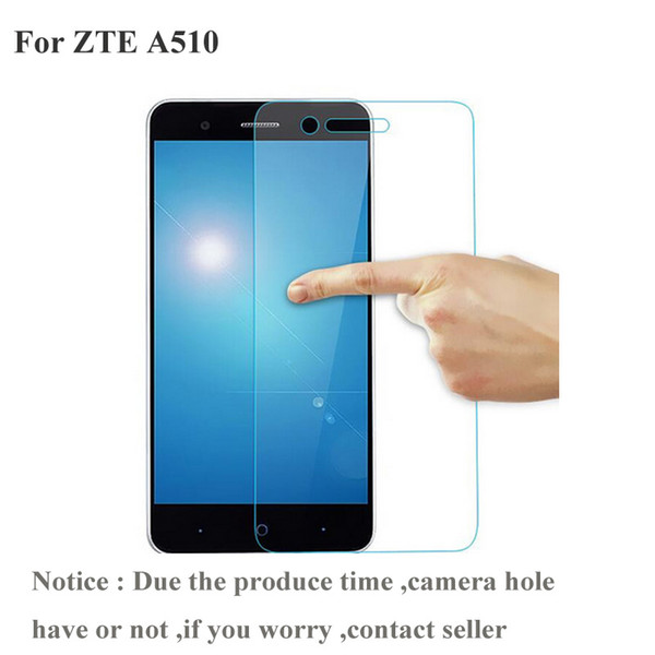 Wholesale- Tempered Glass For ZTE Blade A510 / A510T / BA510 Screen Protector 9H Toughened Protective Film with clean wipe zte a 510