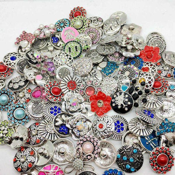 best selling Wholesale 100pcs Lot Mix Style Snap Cham Button Interchangeable 18mm Diy Ginger Snap Jewelry Fit Snap Charm Bracelets Pendant Ring Etc