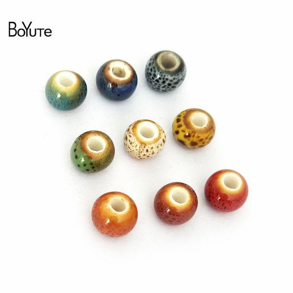 BoYuTe 100 Pcs 6 MM Handmade Contas De Cerâmica Porcelana Por Atacado DIY Contas Fazer Jóias Em 6 Cores de Forma Redonda Beads