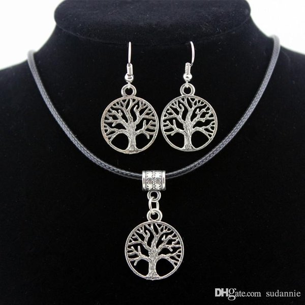 best selling 2017 Silver Tree Of Life Jewelry Sets Pendant Necklace & Earrings Totem Gift Wife Girlfriend Women Wedding Valentines Day Love