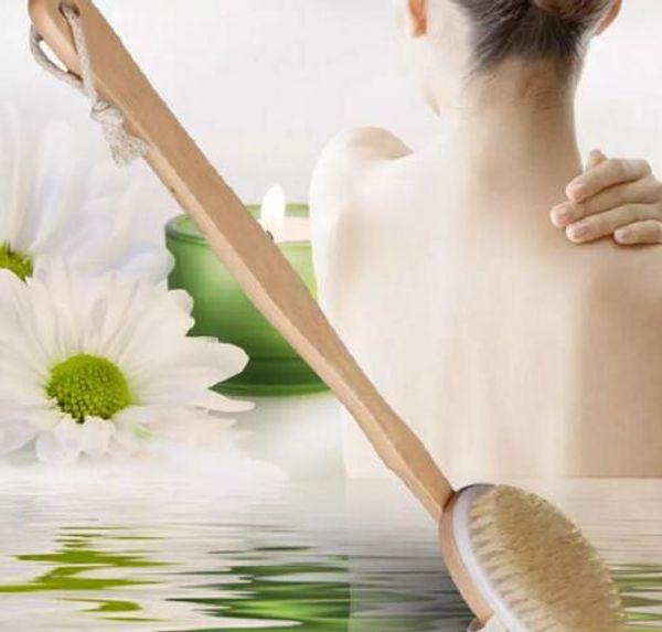 best selling Fashion Hot Natural Long Wooden Bristle Body Brush Massager Bath Shower Back Spa Scrubber