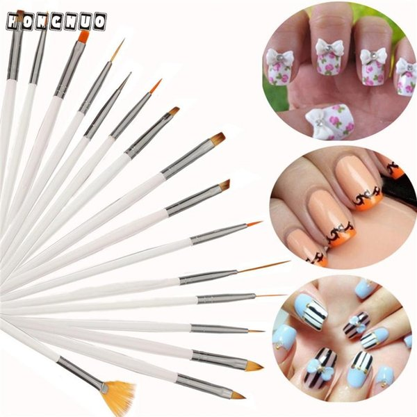 Atacado-Beauty Girl New Hot 16pcs escovas de unhas definir Nail Polish Gel Art Paint Design Pen Tools Makeup Brushes 2 de novembro