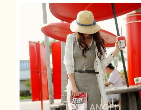 Brand new Choking mouth small pepper woman summer sunscreen red eaves straw hat beach sunscreen sun hat SMB050