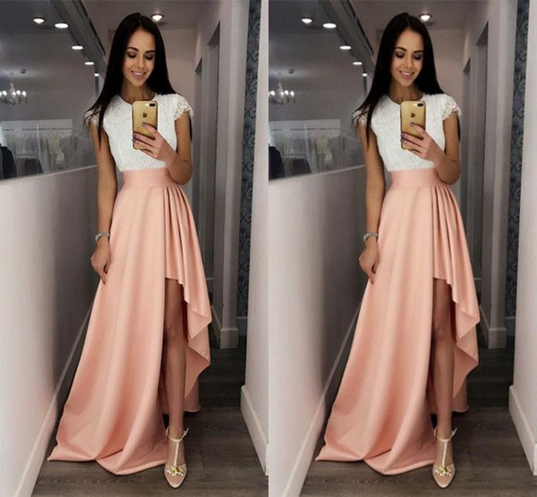 Fashion White and Pink Cocktail Dresses Cap Sleeve Lace Cute High-Low Prom Cheap Special Occasion Dresses for Women