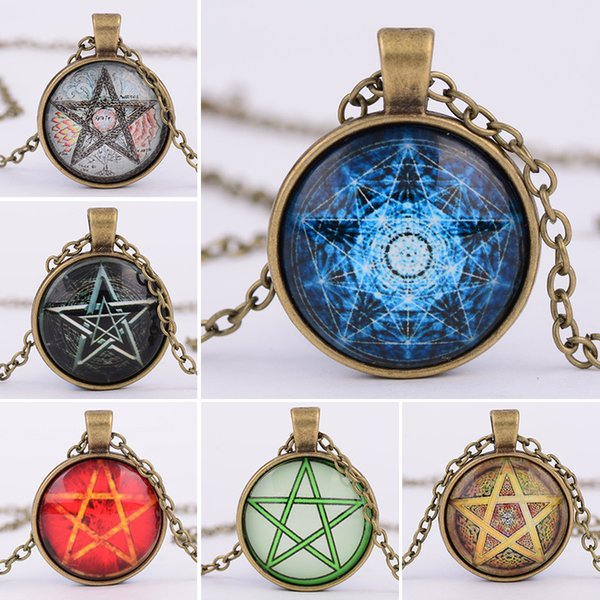 6 styles Fashion Vintage Jewelry mysterious Pentagram circle Glass Lockets pendant Necklaces For women and men Unisex witchcraft Necklace