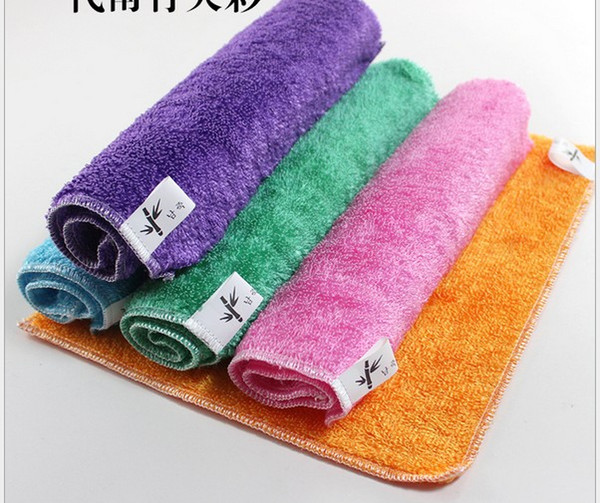 Bamboo fiber dish towel polyester cloth thick bamboo fiber washing cloth do not dip oil water absorbent kitchen washing towel 30 * 27 color