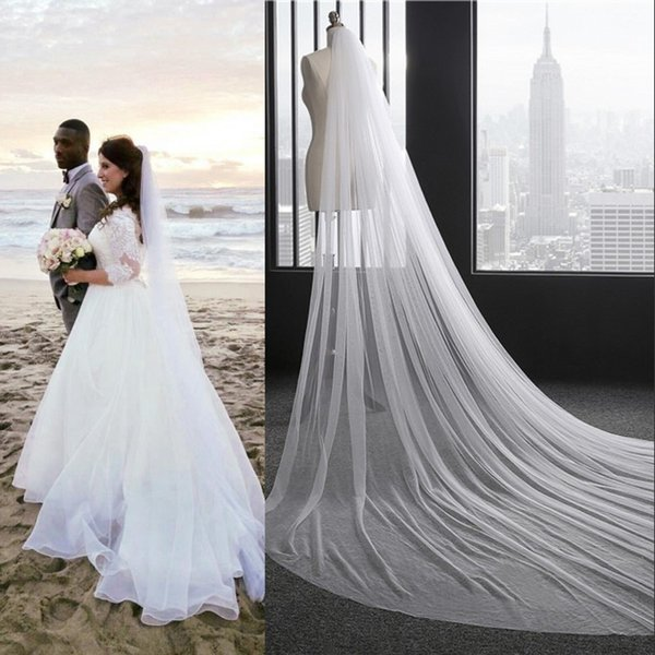 2017 Free Shipping Cathedral 3 Meters Long Veils for Summer Beach Weddings In Stock White Ivory Bridal Veils Under $8 CPA887